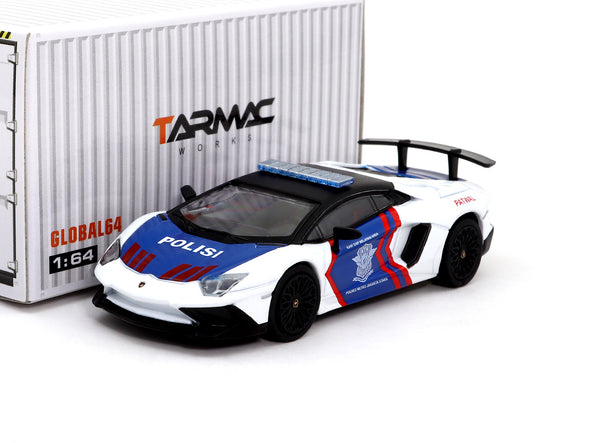 Tarmac Works GLOBAL64 Lamborghini Aventador SV Indonesia Police - T64G-002-IP