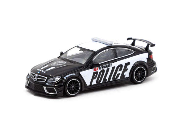 Tarmac Works Global64 Mercedes-Benz C 63 AMG Coupé Black Series Police Car - T64G-009-PC