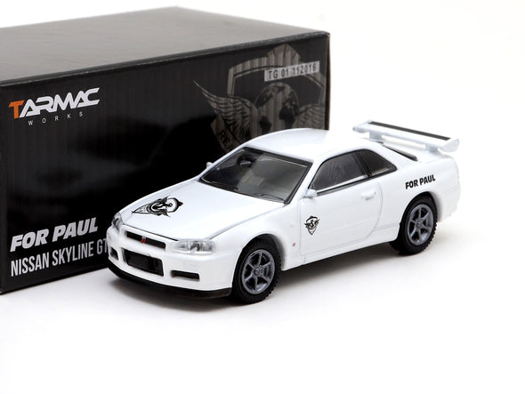 "*Limit to FIVE per person* Tarmac Works x Greenlight Collectibles x ROWW Nissan GT-R R34 """"FOR PAUL"""" Edition - TG51135"