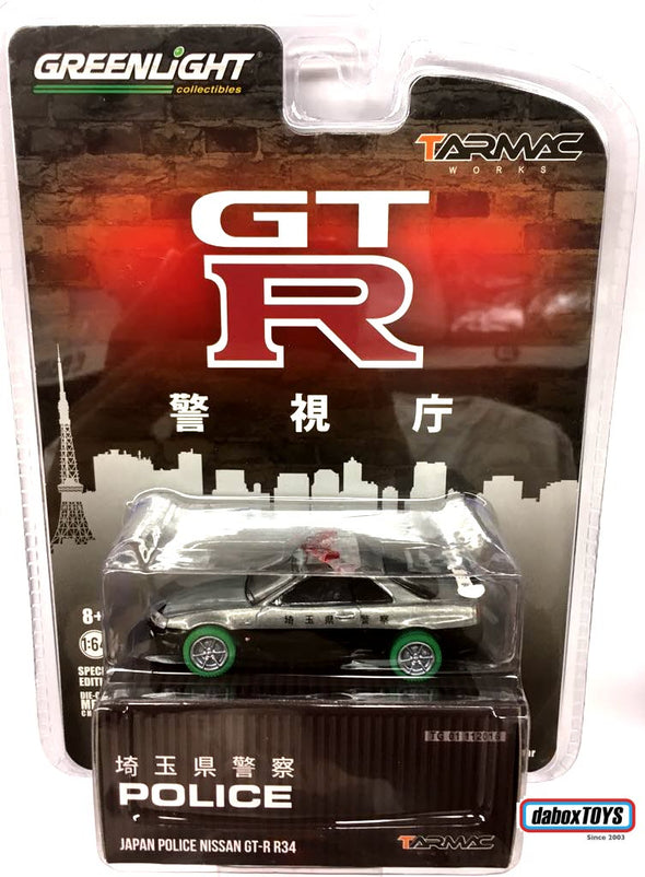 """CHASE CAR"" - Tarmac Works x Greenlight 1/64 Nissan GT-R R34 Japan Saitama Prefecture Police - #51134"