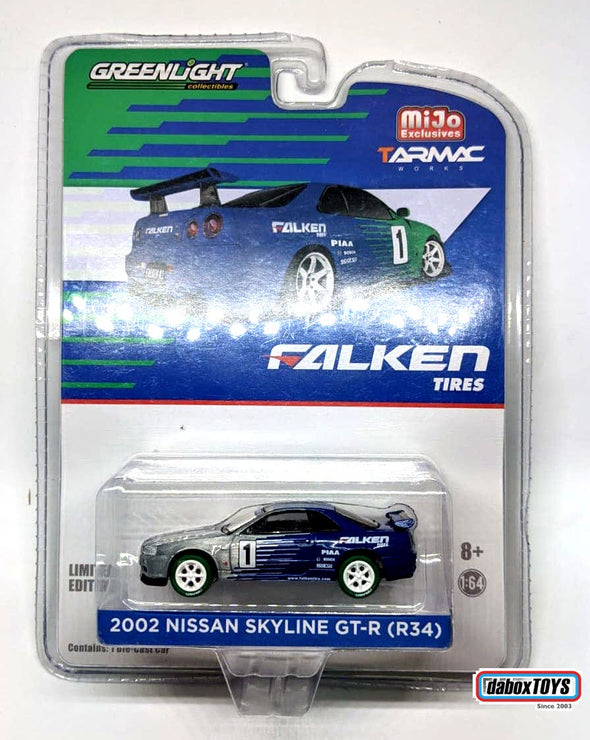 """CHASE CAR"" - Tarmac Works x Greenlight Collectibles x Mijo  - Nissan Skyline GT-R R34 FALKEN #51150"