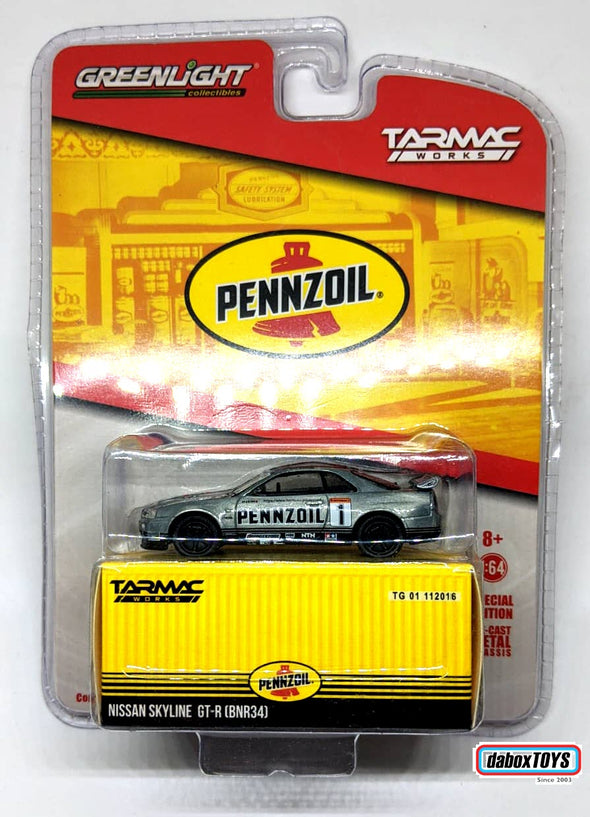 """CHASE CAR"" - Tarmac Works x GreenLight 1/64 Nissan Skyline GT-R R34 PENNZOIL Special Edition - #51182"