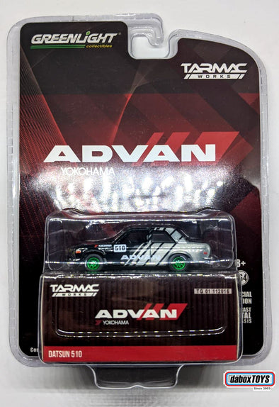 """CHASE CAR"" - Tarmac Works x GreenLight 1/64  ADVAN Datsun 510 - #51183"