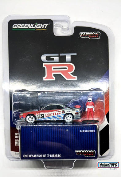 """CHASE CAR"" - Tarmac Works x GreenLight 1/64 Nissan Skyline GT-R R34 Loctite 1999 - #51185"