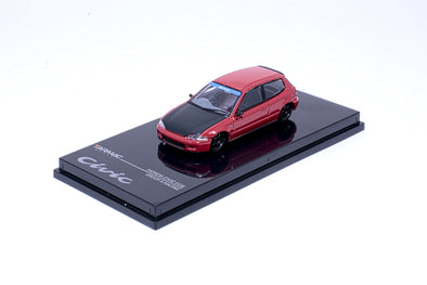 """LIMITED 2 PER PERSON""  Tarmac Works Hobby64 Honda Civic EG6 Gr.A Racing Red with black bonnet - Wave 1 - T12-RE"