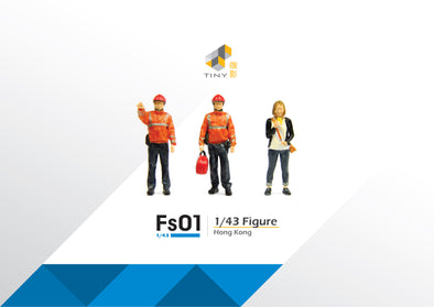 Tiny 1/43 Resin Figure Set 01 Firemen & Lemon Tea Girl 1/43 樹脂公仔套裝01 消防員和檸茶少女 - ATFS43001