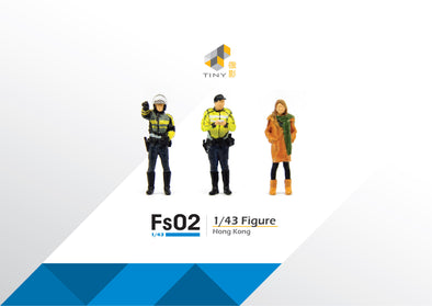 Tiny 1/43 Resin Figure Set 02 Policemen & Girl in Coat 1/43 樹脂公仔套裝02 交通警和大褸少女 - ATFS43002