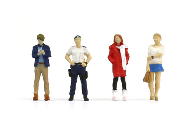 Tiny 1/64 Resin Figure Set 06 Man in Suit & Policeman & Girl in Coat & Housewife 1/64 樹脂公仔套裝06  西裝友、警察、大衣少女和家庭主婦 -  ATFS64006