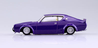 Aoshima 1/64 Grand Champion Collection 10 - LB Works Skyline 2Dr 1972 (C110) Purple LBケンメリ2Dr #1