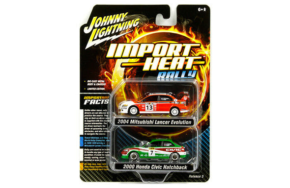 Johnny Lightning 1/64 Mijo 2 Pack -Rel Racing Honda Civic / Mitsubishi Evo VIII - JLSP061