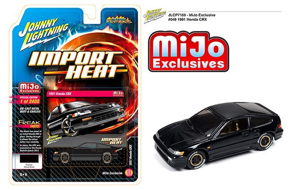 Johnny Lightning 1/64 Mijo HONDA CRX SI Black with Carbon Hood CP7169