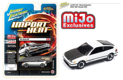 Johnny Lightning 1/64 Mijo HONDA CRX SI White with Carbon Hood