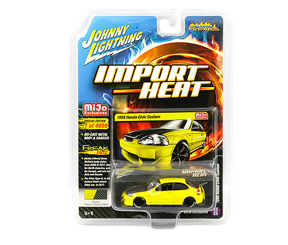 Johnny Lightning 1/64 Mijo 1998 Honda Civic Custom Yellow with Carbon Hood