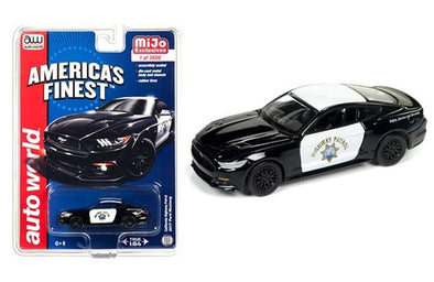 *Limit to TWO per person* Auto World x Mijo 1/64 2017 Ford Mustang GT *Highway Patrol*, black/white