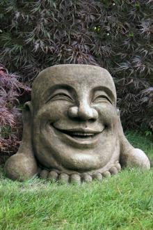 Laughing Hoi Toi Face Stone Garden Art