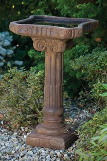 One Piece Distressed Fluted Bird Bath