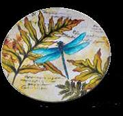 "GLASS PLATE 12""  DRAGONFLY MURANO"