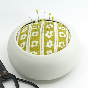 The Quintessential Pincushion in Daisy Stripe, Yarrow