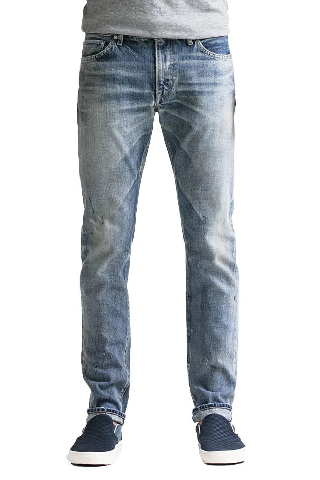 S.M.N Studio's Mercer in Emerson Men's Jeans - Slim Fit Light vintage washed 100% Japanese Cotton selvedge denim with fading and splattering to create a truly workwear inspired pair