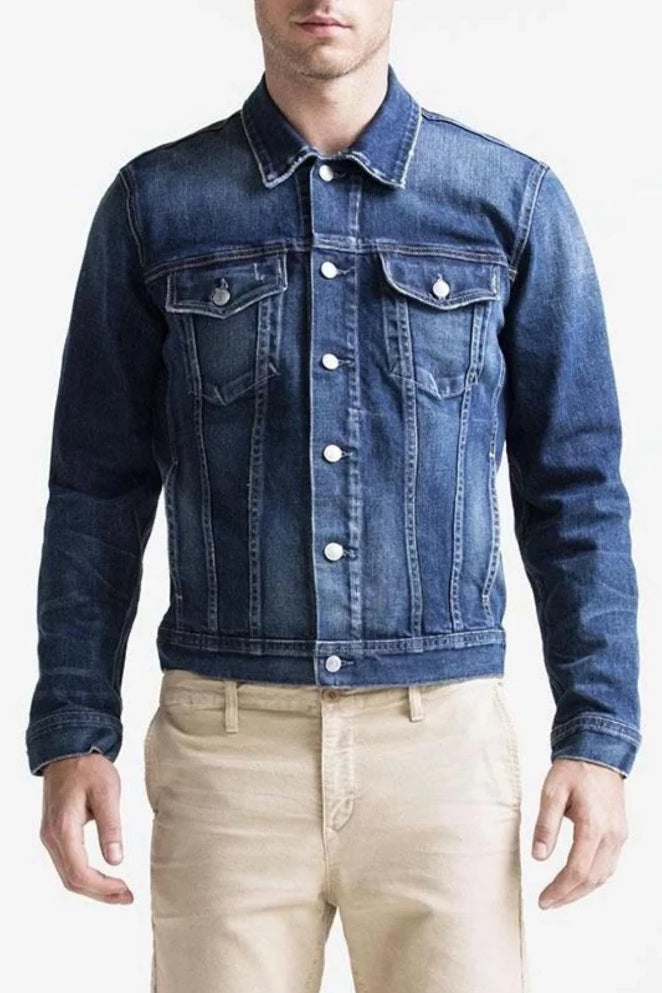 S.M.N Studio Gene Classic Jacket in Mason - a classic 6-button jean jacket silhouette in a dark washed premium Japanese denim