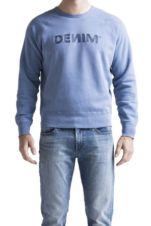DEИIM Embroidered Light Blue College Sweatshirt