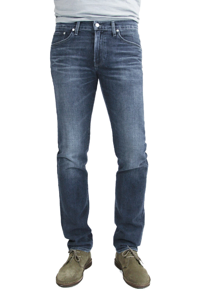 S.M.N Studio's Bond in Atlas Men's Jeans - Slim Straight Extra soft comfort stretch sustainable Italian Denim in dark navy denim wash