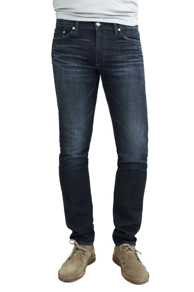 S.M.N Studio's Bond in Cobalt - Slim straight men's jeans in a dark indigo wash with contrasting fades and made in a soft and comfortable stretchy sustainable Italian denim