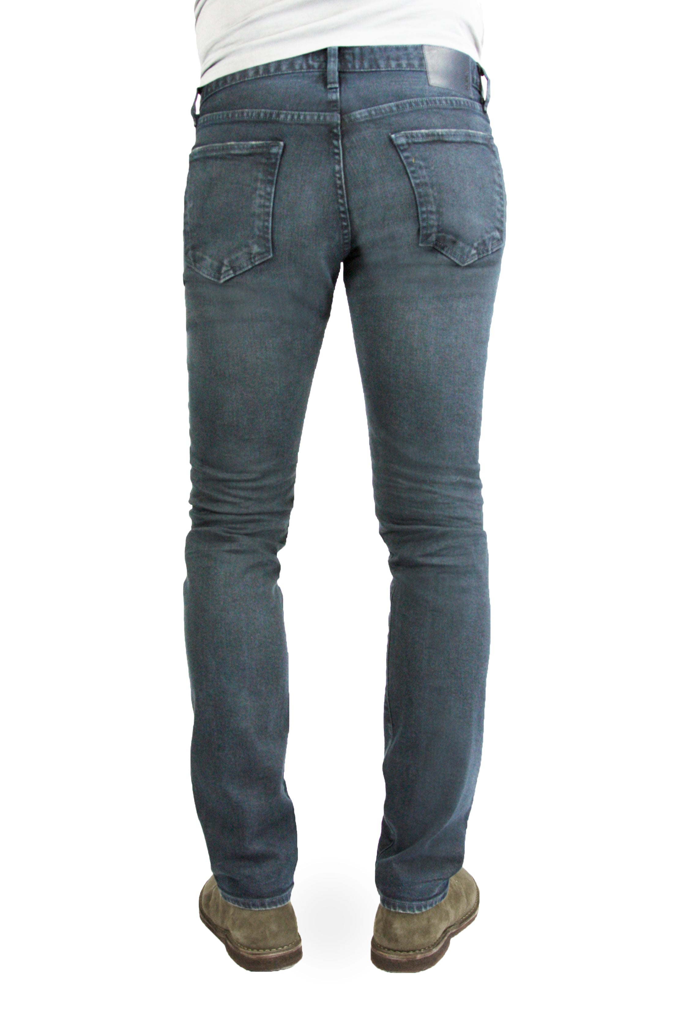 Back of S.M.N Studio's Hunter in Berlin Men's Jeans - Comfort stretch tapered slim fit jeans made in a blue grey colored comfort stretch Japanese denim and contrasted lightly with fading and whiskers for a vintage worn-in appeal