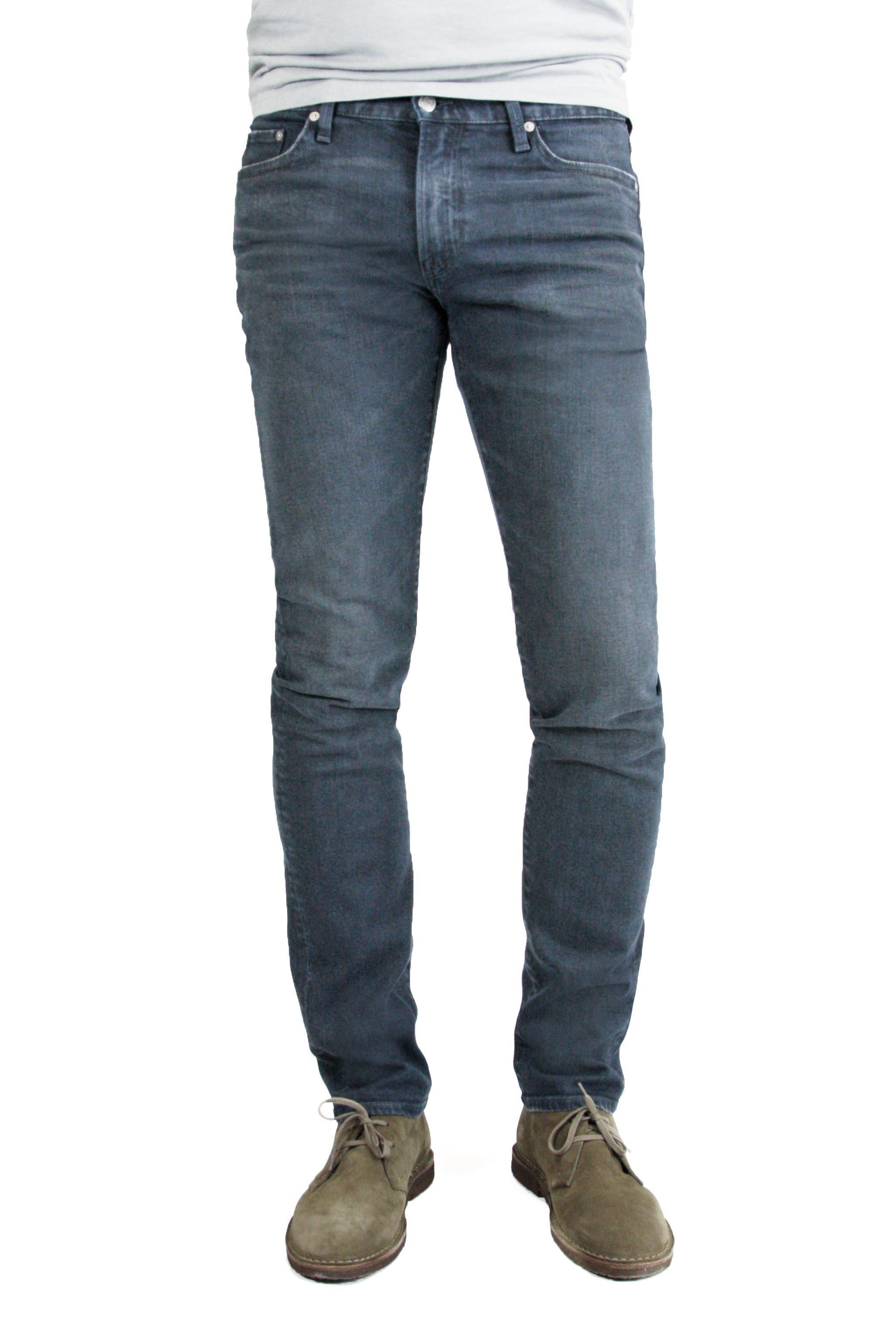 S.M.N Studio's Hunter in Berlin Men's Jeans - Comfort stretch tapered slim fit jeans made in a blue grey colored comfort stretch Japanese denim and contrasted lightly with fading and whiskers for a vintage worn-in appeal