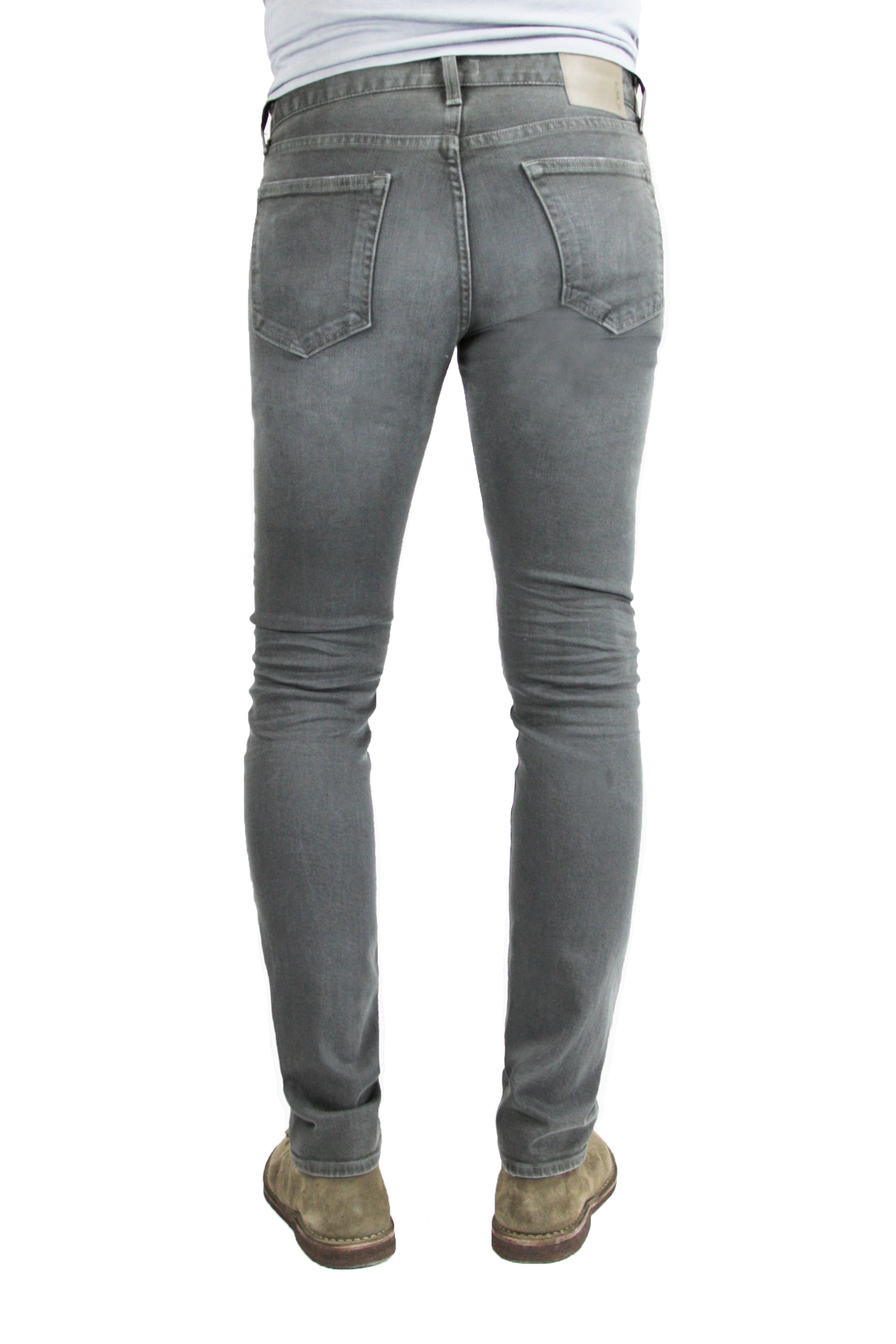 Back of S.M.N Studio's Finn in Ashton Men's Jeans - Tapered slim Comfort Stretch Denim in grey