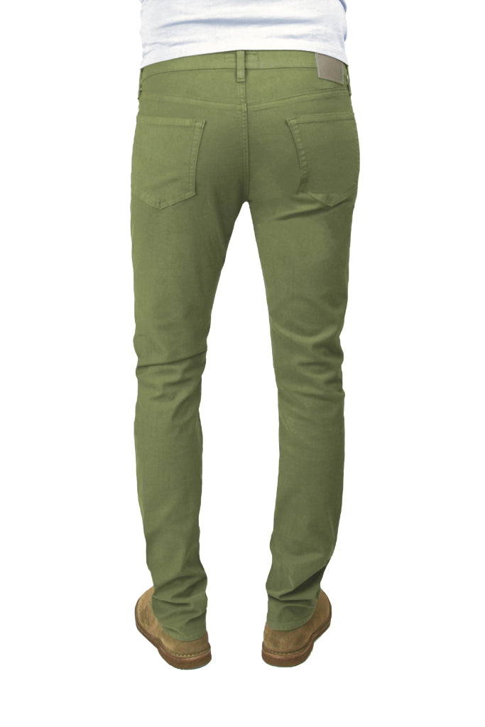 Back of S.M.N Studio's Hunter in Army Green Men's Twill Jeans. A slim stretch comfort twill pant in an army green color