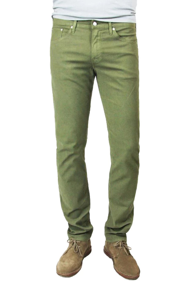 S.M.N Studio's Hunter in Army Green Men's Twill Jeans. A slim stretch comfort twill pant in an army green color