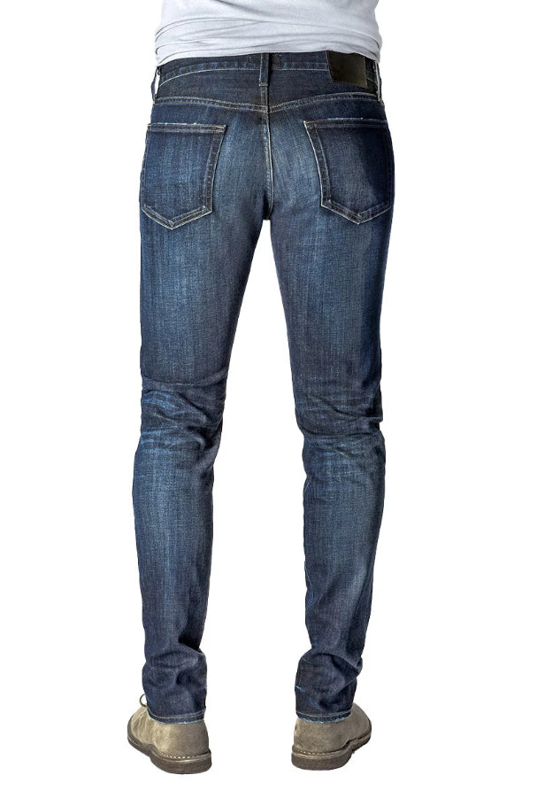 Back of S.M.N Studio's Hunter in Bristol Men's Jeans - Slim fit dark denim wash finished with light contrast fading with 3d whiskering accents