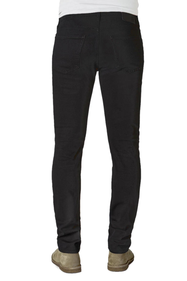 Back of S.M.N Studio's Hunter in Onyx Men's Jeans - Standard slim fit jean in a black comfort stretch premium Italian denim