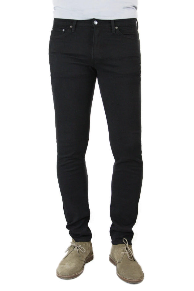S.M.N Studio's Hunter in Onyx Men's Jeans - Standard slim fit jean in a black comfort stretch premium Italian denim