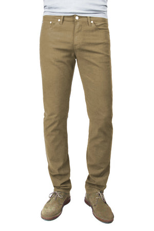 S.M.N Studio's Hunter in Chestnut Men's Twill Jeans. A standard slim stretch comfort twill pant in a lighter brown chestnut color