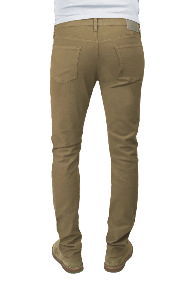 Back of S.M.N Studio's Hunter in Chestnut Men's Twill Jeans. A standard slim stretch comfort twill pant in a lighter brown chestnut color