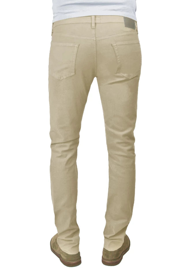 Back of S.M.N Studio's Hunter in Khaki Men's Twill Pants. A slim fit pant made up in a comfortable stretch twill fabric in a khaki color.