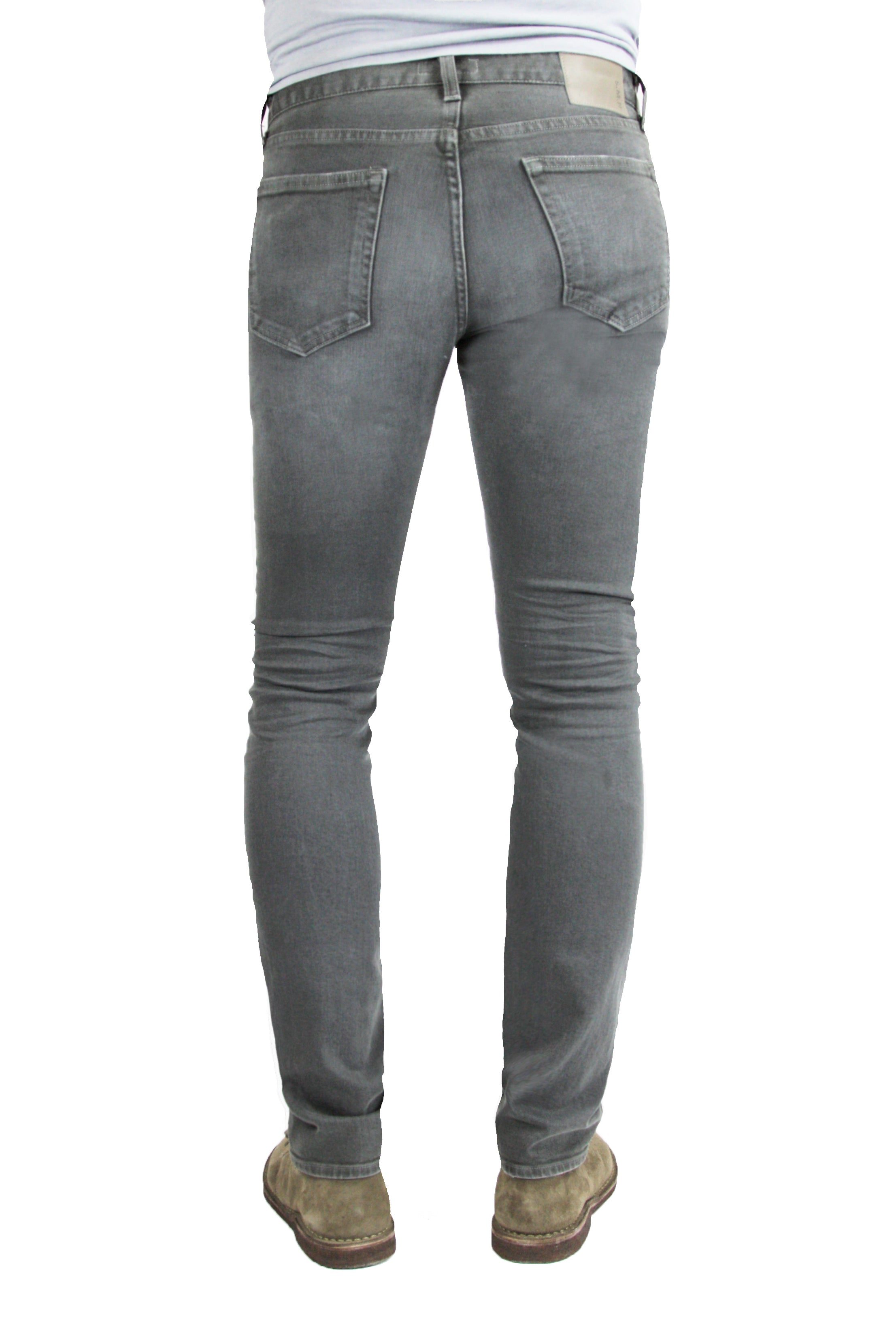 Back of S.M.N Studio's Hunter in Ashton Men's Jeans - Slim Comfort Stretch Denim in grey