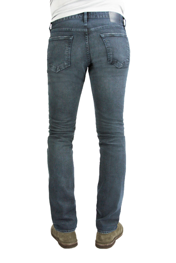 Back of S.M.N Studio's Hunter in Berlin Men's Jeans - Slim fit Blue Grey colored pants in comfort stretch denim with 3D whiskering