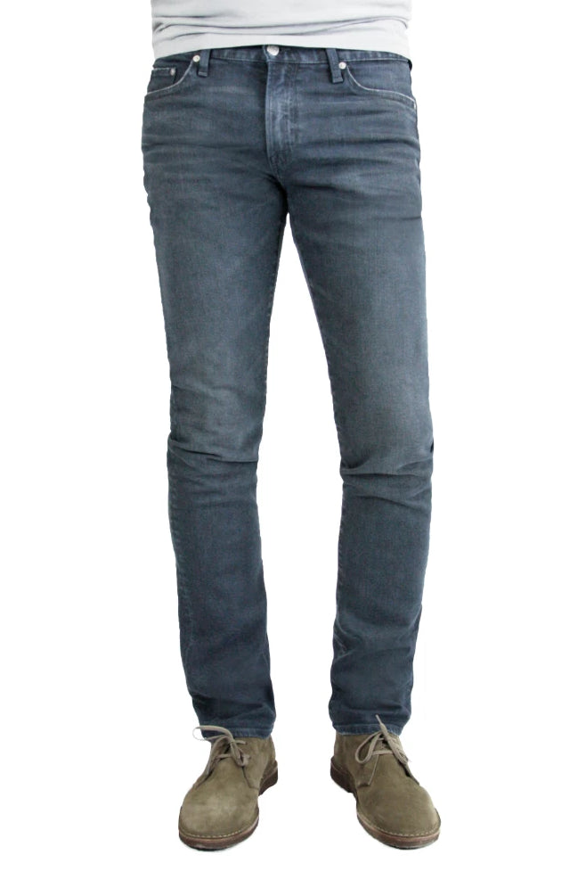 S.M.N Studio's Hunter in Berlin Men's Jeans - Slim fit Blue Grey colored pants in comfort stretch denim with 3D whiskering
