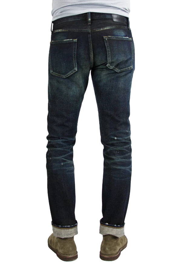 Back of S.M.N Studio's Mercer in Deliverance Men's Jeans - A vintage inspired dark washed slim fit jean made in 100% Japanese cotton selvedge with fading and rips