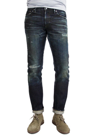 S.M.N Studio's Mercer in Deliverance Men's Jeans - A vintage inspired dark washed slim fit jean made in 100% Japanese cotton selvedge with fading and rips