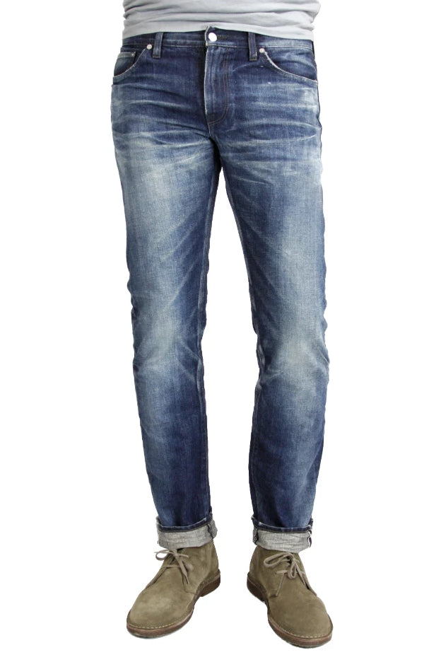 S.M.N Studio's Mercer in Rockford Men's Jeans - Slim Fit Dark Indigo vintage wash inspired men's jeans made in 100% Japanese cotton selvedge denim and natural fading