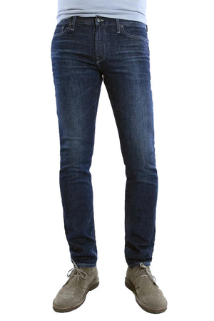 S.M.N Studio's Hunter in Maxwell Men's Jeans - Slim fit jean in dark washed comfort stretch premium Japanese denim with light fades, whiskering and honeycombs, to contrast against dark wash