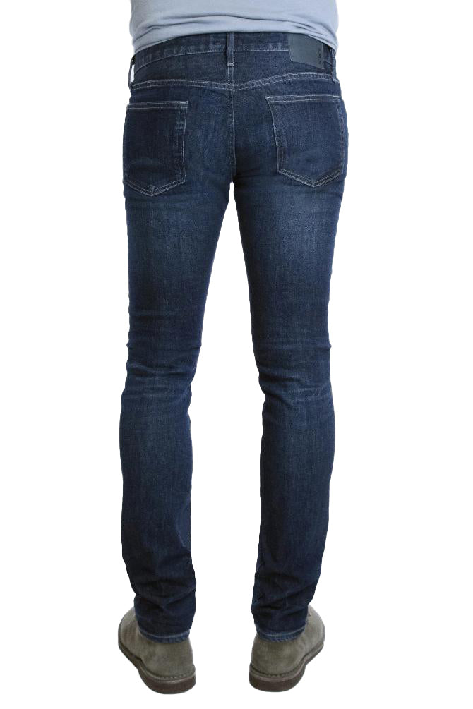 Back of S.M.N Studio's Hunter in Maxwell Men's Jeans - Slim fit jean in dark washed comfort stretch premium Japanese denim with light fades, whiskering and honeycombs, to contrast against dark wash