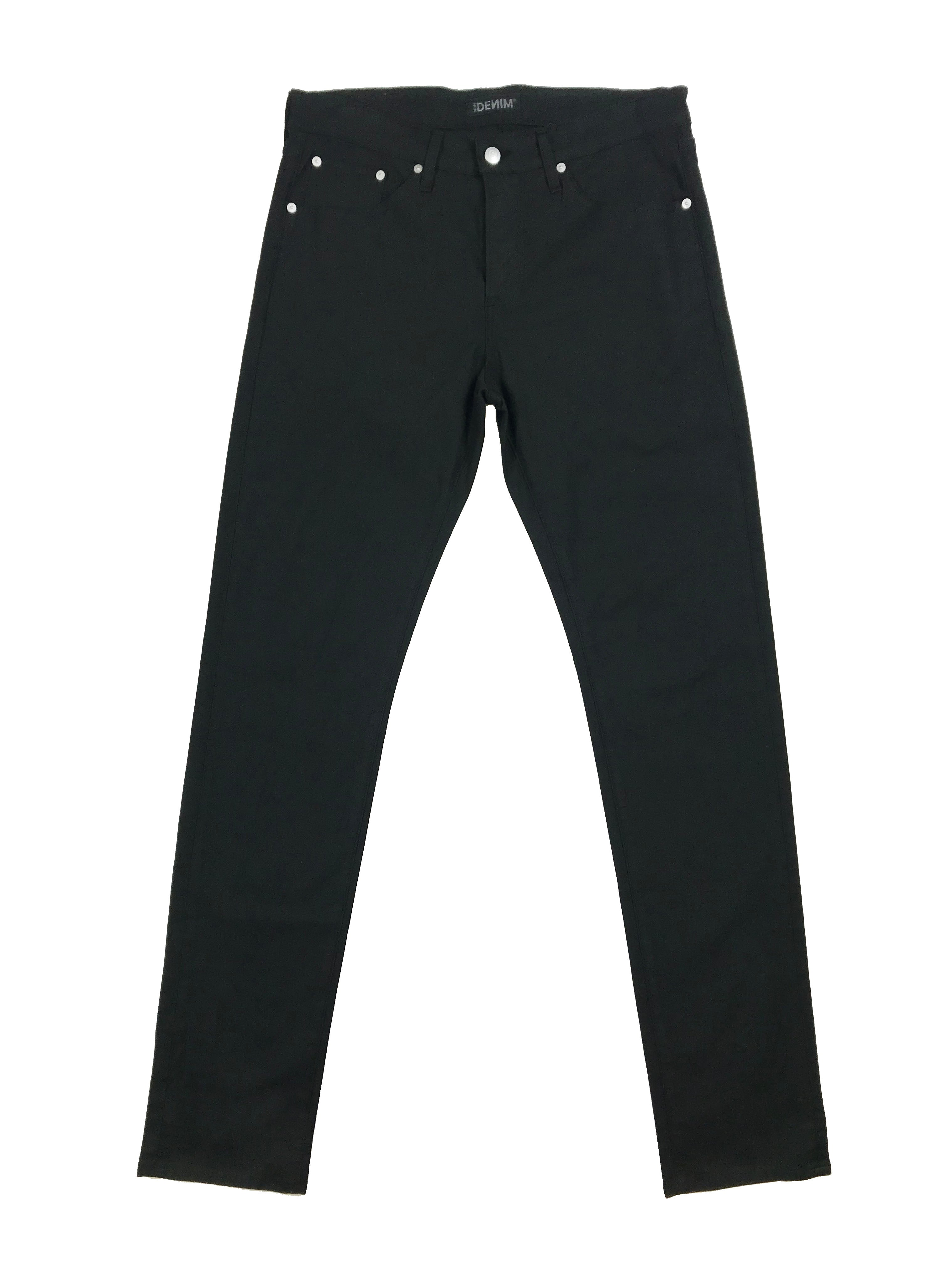 Flat image of S.M.N Studio's Hunter in Black Men's Twill Pants - Slim comfort stretch twill pants dyed in black