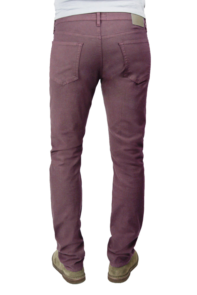 Back of S.M.N Studio's Hunter in Maroon Men's Twill Pants - A slim fit comfort stretch twill pant in a darker maroon color