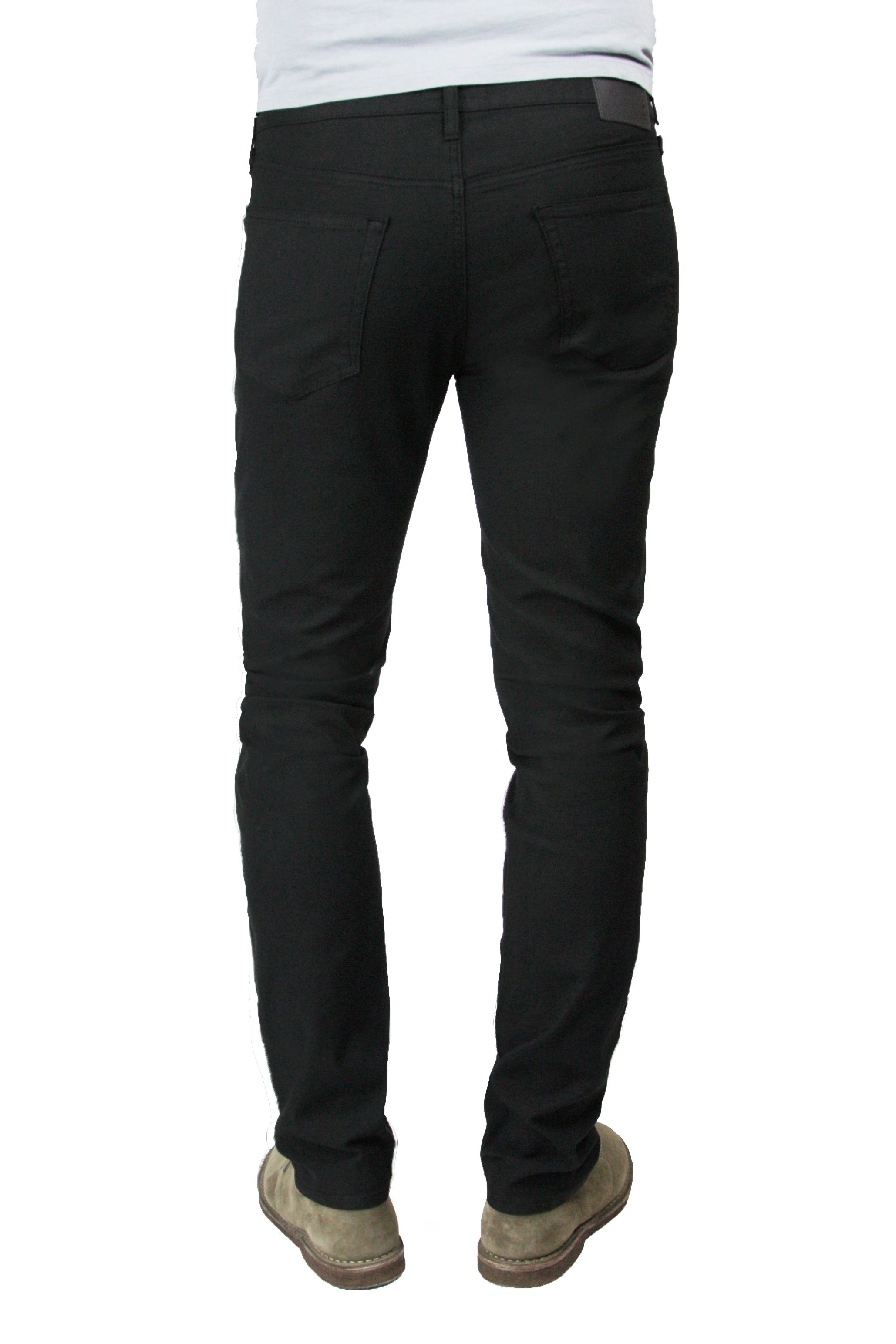 Back of S.M.N Studio's Hunter in Black Men's Twill Pants - Slim comfort stretch twill pants dyed in black