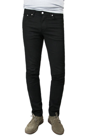 S.M.N Studio's Finn in Black Men's Twill pants. Tapered slim comfort stretch twill pants dyed in black